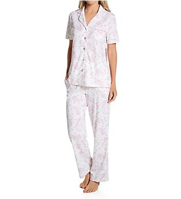 Carole Hochman 100% Cotton Notch Collar Short Sleeve PJ Set