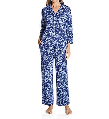 Carole Hochman 100% Cotton Notch Collar 3/4 Sleeve PJ Set