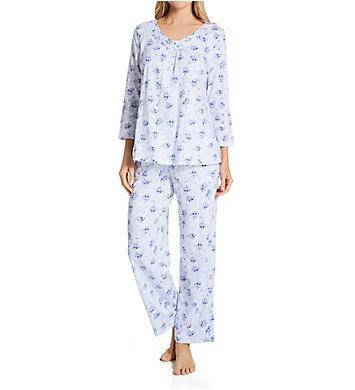 Carole Hochman 100% Cotton V-Neck 3/4 Sleeve PJ Set