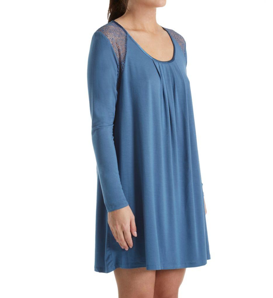 Carole Hochman Midnight Midnight Storm Long Sleeve Sleepshirt with Lace