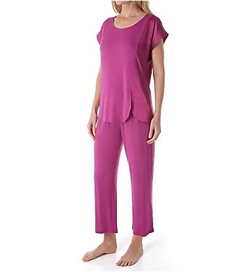 Carole Hochman Midnight Moonlight Orchid Short Sleeve Capri Pant PJ Set