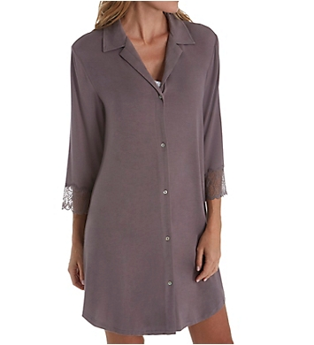 Carole Hochman Midnight Delicate Bouquet 3/4 Sleeve Button Sleepshirt