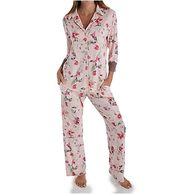 Carole Hochman Midnight Delicate Bouquet Sleeve Button Front Long PJ Set