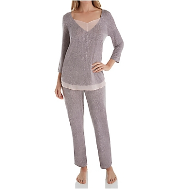 Carole Hochman Midnight Delicate Bouquet 3/4 Sleeve Long Pant PJ Set