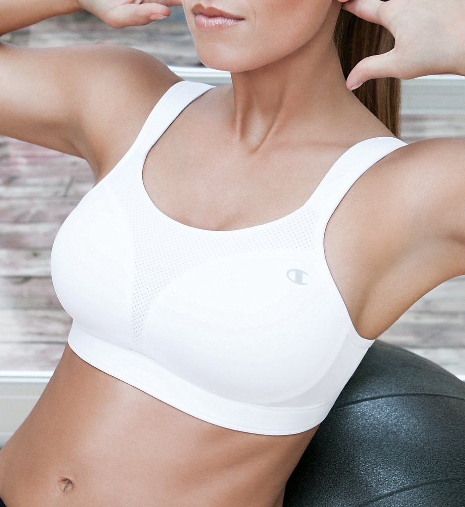 Champion 1602 Spot Comfort Max Support Molded Cup Sports Bra (White)
