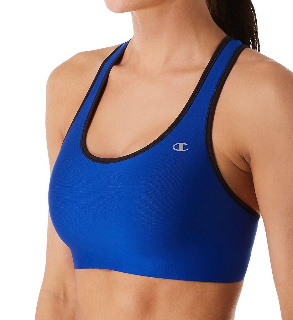 Champion B9504 The Absolute Comfort SmoothTec Band Sports Bra (Surf the Web/Black)