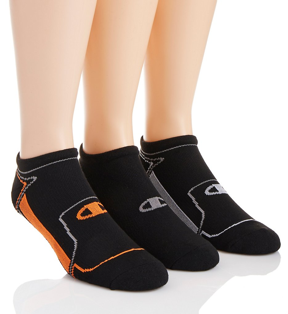 Champion CH210 Men's No Show Running Socks - 3 Pack (Black/White 6-12)