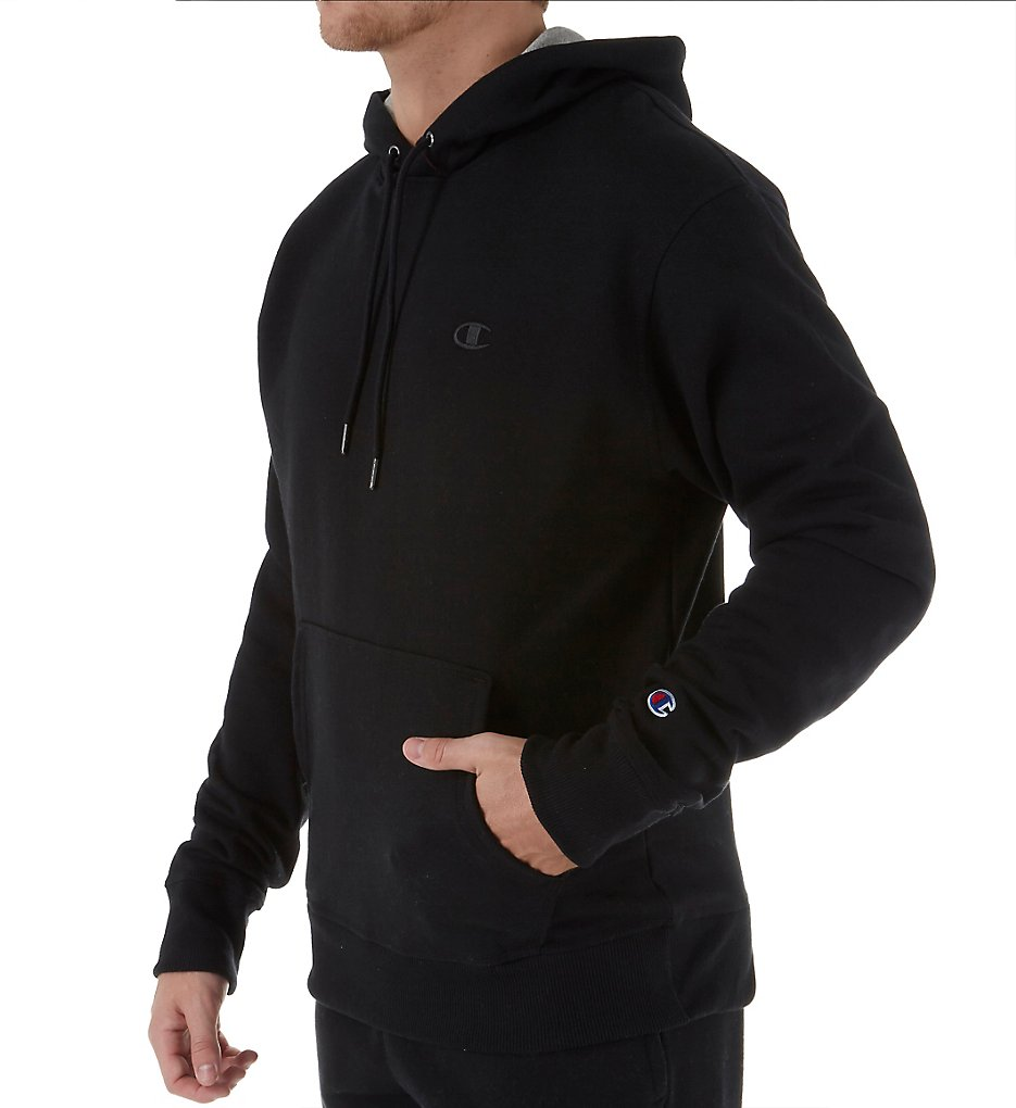 Champion S0889 PowerBlend Fleece Pullover Hoodie M Black | eBay
