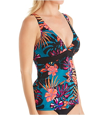 Christina Bloom Tropics V Neck Tankini Swim Top