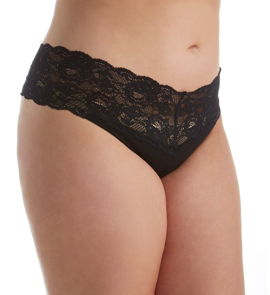 Cosabella : Cosabella N0341P Never Say Never Lovelie Lace Plus Size Thong (Black XL)