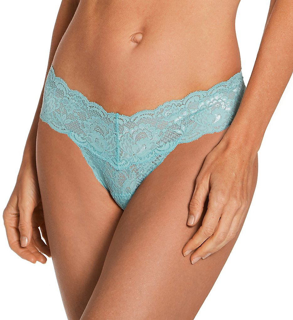 Cosabella Nev03ZL Never Say Never Cutie Low-Rider Lace Thong (Blue Capri O/S)
