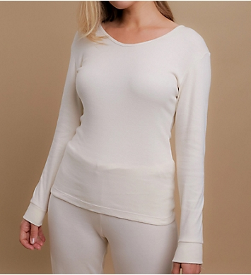 Cottonique Latex Free Organic Cotton Long Sleeve Ribbed Tee