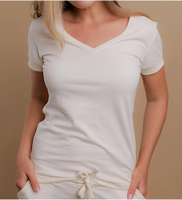 Cottonique Latex Free Organic Cotton Athletic V-Neck Shirt