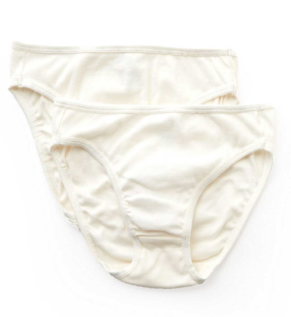 Cottonique - Cottonique W22207C Natural Organic Cotton High Cut Panty - 2 Pack (Natural 4)