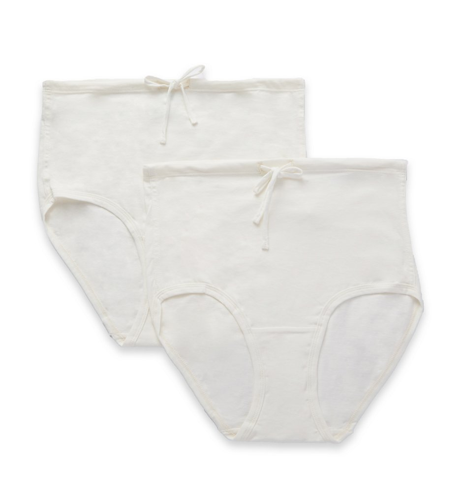 Cottonique - Cottonique W22219 Natural Organic Cotton Drawstring Brief - 2 Pack (Natural 5)