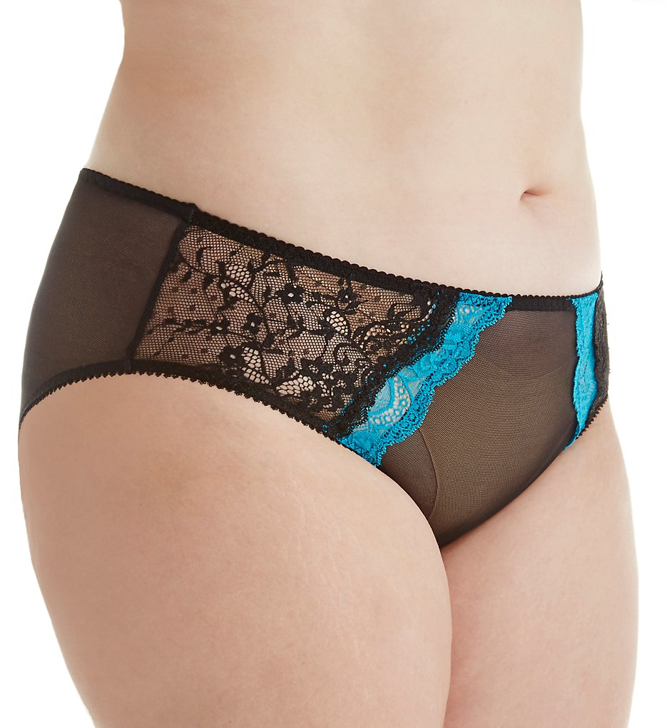 Creme Bralee - Creme Bralee 12313BL Bettina Lace Boyshort Panty (Capri/Black 4X)