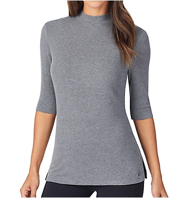 Cuddl Duds Softwear with Stretch Ribbed Mock Neck Shirt