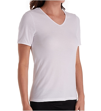 Cuddl Duds Softwear Lace Edge Short Sleeve V-Neck