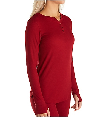 Cuddl Duds Stretch Thermal Long Sleeve Split Neck Henley Top