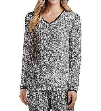Cuddl Duds Softwear Lace Edge Long Sleeve V-Neck Shirt