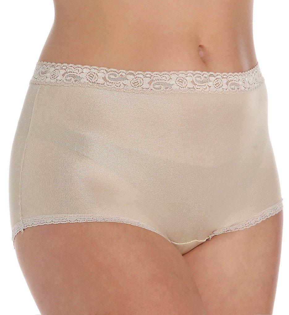 Cuddl Duds LR102 Lorraine Nylon Full Brief with Lace Trim Panty