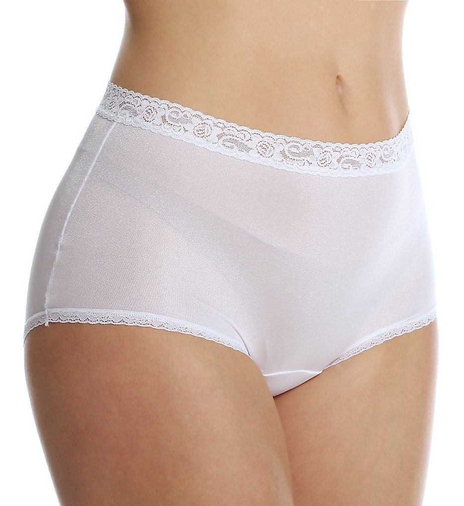 Cuddl Duds - Cuddl Duds LR102 Lorraine Nylon Full Brief with Lace Trim Panty (Pearl 5)