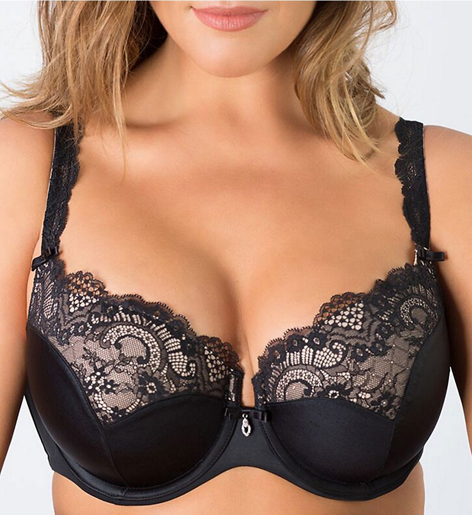 Curvy Couture 1017 Tulip Lace Push Up Balconette Bra)