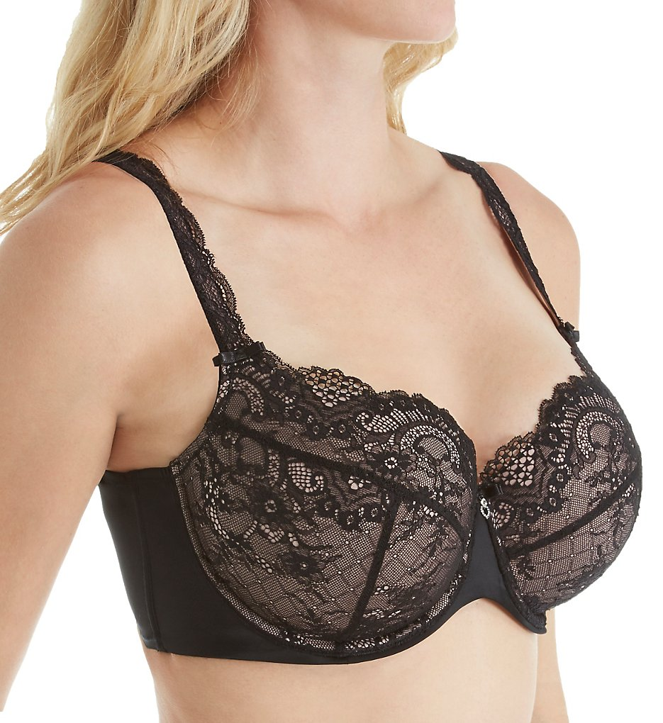 Curvy Couture : Curvy Couture 1165 Tulip All Over Lace Push Up Demi Bra (Rose Pink 36C)