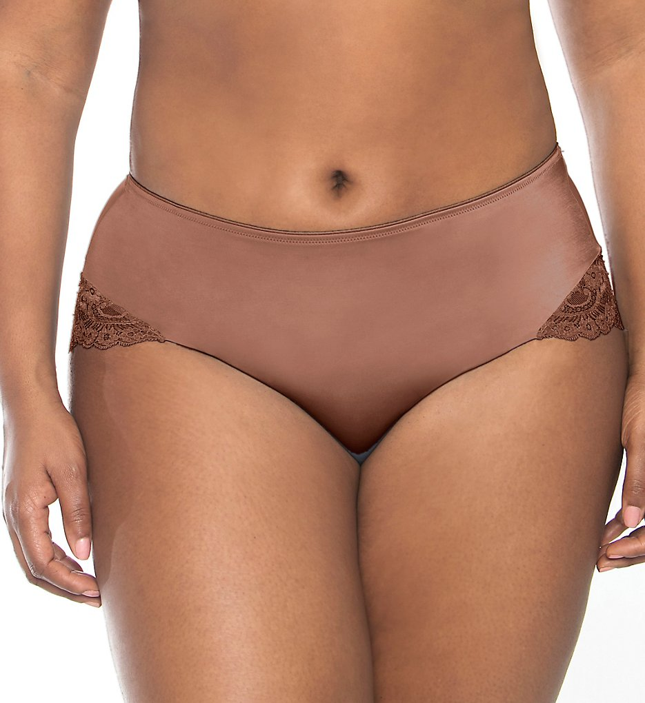 Curvy Couture - Curvy Couture 1169 Tulip Lace Hipster Panty (Chocolate M)