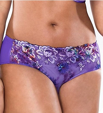 Curvy Couture Purple Passion Embroidered Hipster Panty