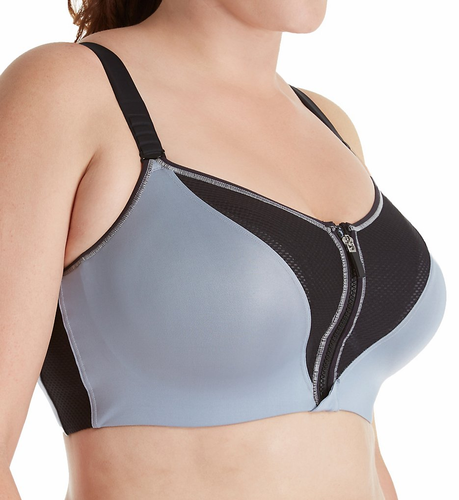 23f84f87d6 Curvy Couture 1237 Zip Fit Underwire Sports Bra 40 C Dusty Blue 40c. About  this product. Picture 1 of 2  Picture 2 of 2