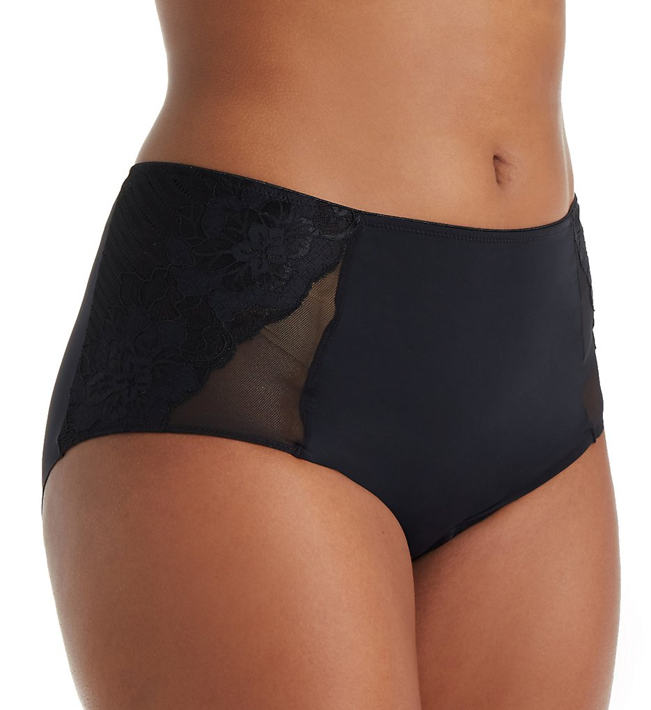 Curvy Couture >> Curvy Couture 1271 Tulip Lace Boyshort Panty (Black 2X)