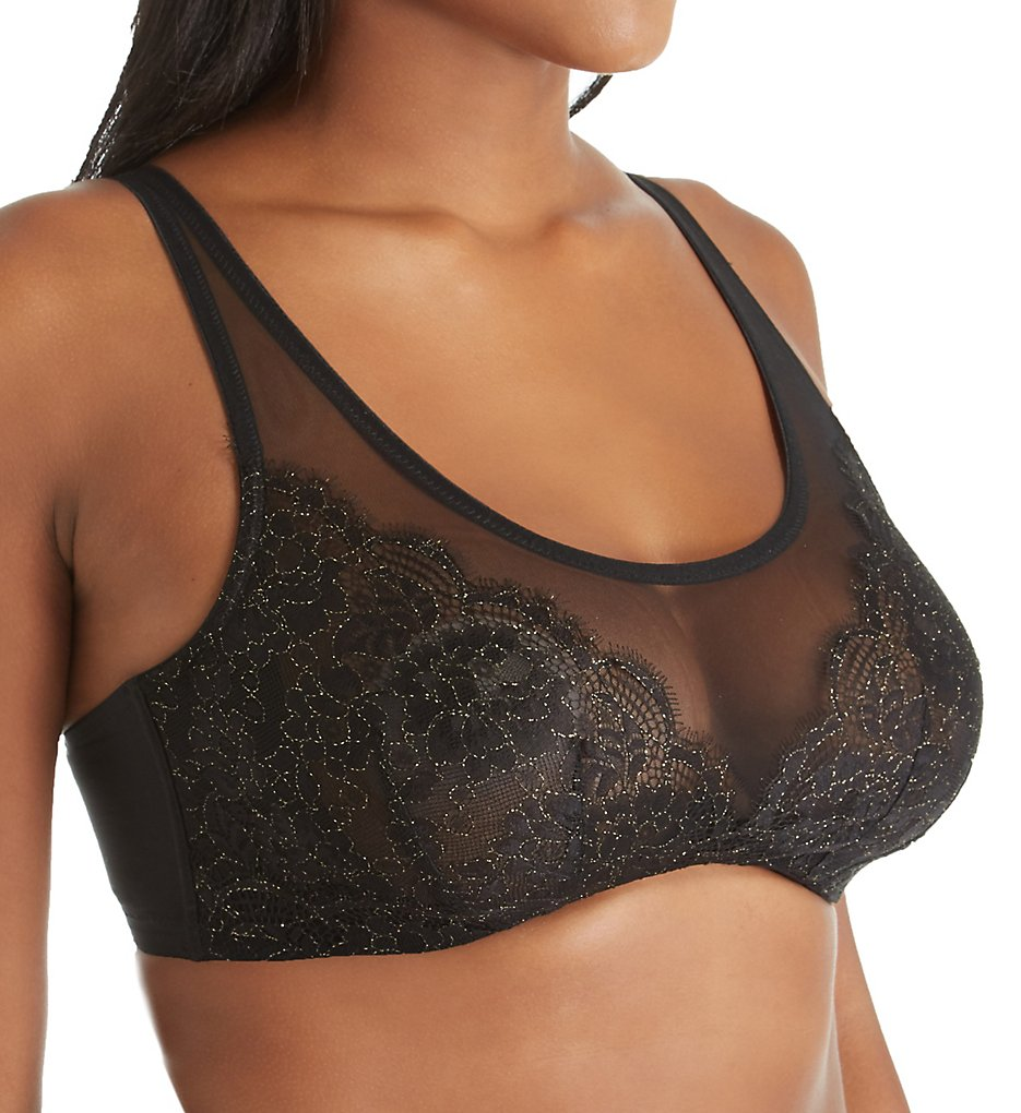 Curvy Couture >> Curvy Couture 1273 Luminous Lace Scoop Neck Underwire Bralette (Black 44DDD)