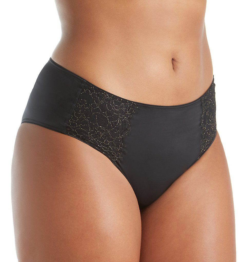 Curvy Couture - Curvy Couture 1275 Luminous Lace Hipster Panty (Black M)