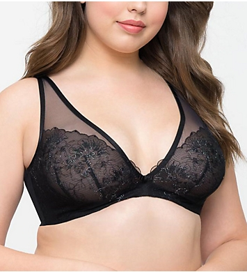 Curvy Couture Glistening Sheer Embroidery Underwire Bra