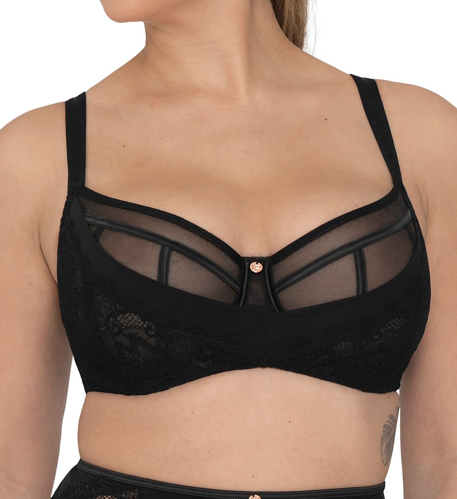 Curvy Kate - Curvy Kate ST4901 Scantilly Peek-A-Boo Lace Balcony Bra (Black/Rose 30DD)