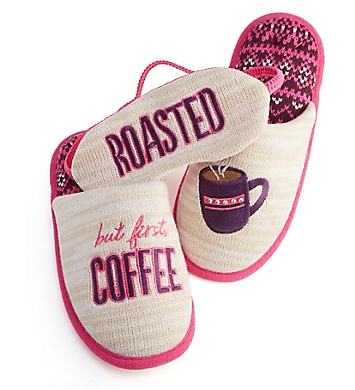 Dearfoams But First Coffee Memory Foam Slipper & Eye Mask