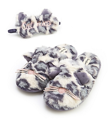 Dearfoams Cat Nap Slipper & Eye Mask Set