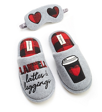 Dearfoams Lattes & Leggings Slipper and Eye Mask Set