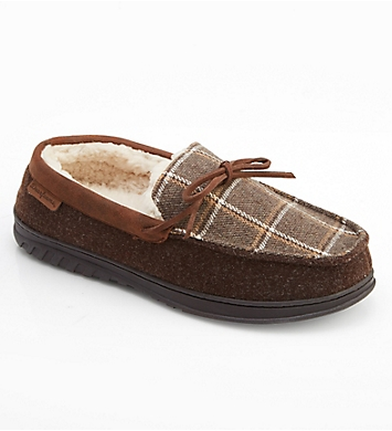 Dearfoams Ethan Plaid Moc Slipper With Memory Foam