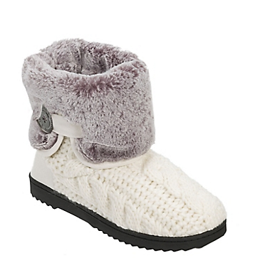 Dearfoams Cable Knit Boot with Plush Cuff