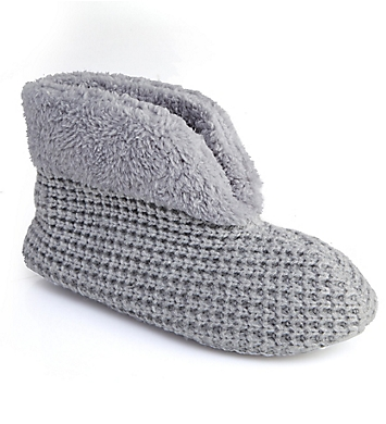 Dearfoams Textured Knit Bootie