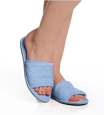 Dearfoams Beatrice Microfiber Terry Slide with Quilted Vamp