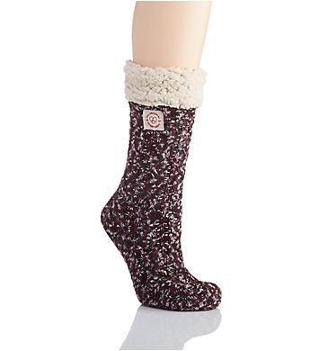Dearfoams Marled Cable Knit Blizzard Slipper Sock
