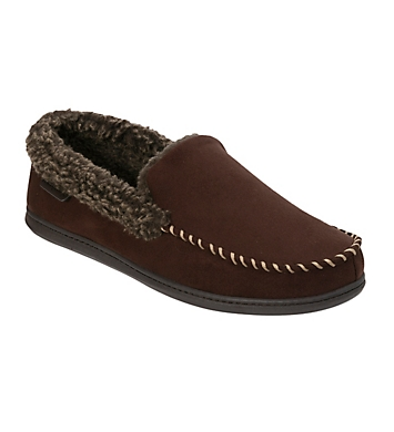 Dearfoams Microfiber Suede Moc Slipper With Memory Foam