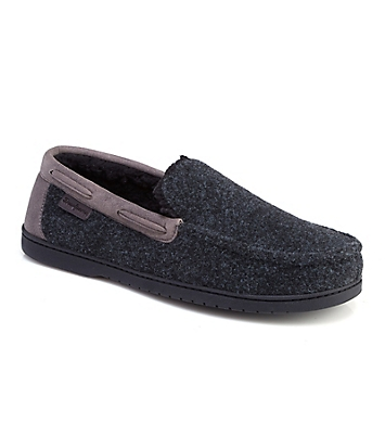 Dearfoams Mixed Material Moccasin Slipper With Memory Foam