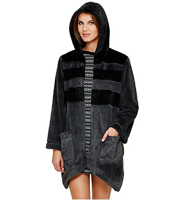 DKNY Between The Lines Hooded Fur Cozy