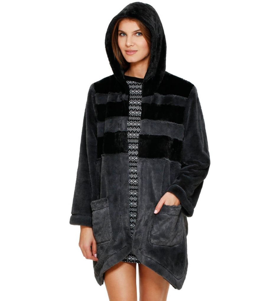 DKNY Between The Lines Hooded Fur Cozy
