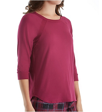 DKNY Fleece Market 3/4 Sleeve Top