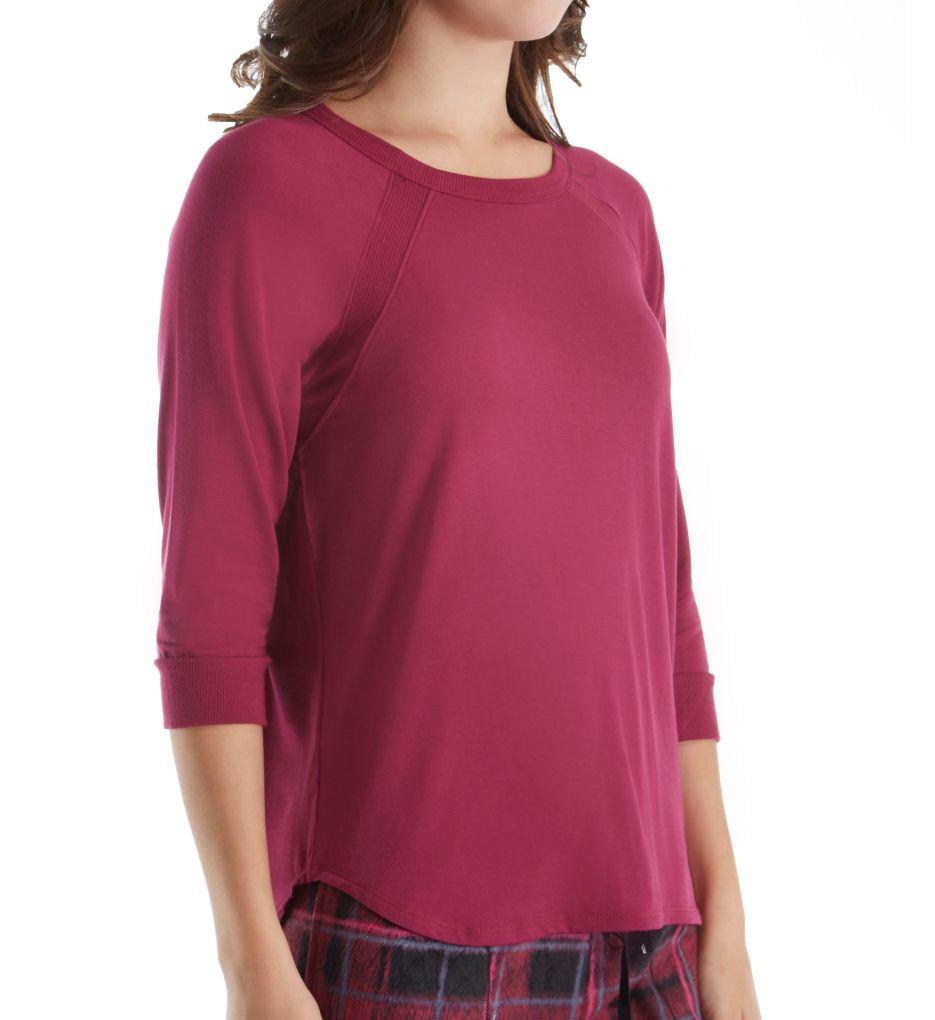 DKNY Fleece Market 3/4 Sleeve Top